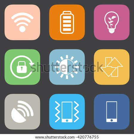 Mobile phone icons set.Flat color style. - stock vector