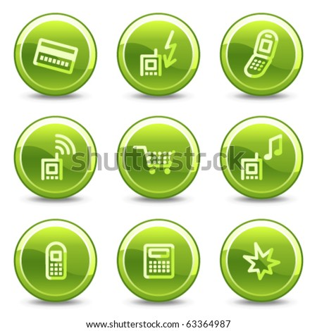 Mobile phone icons set 1, green circle glossy buttons