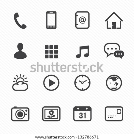 Mobile Phone Icons with White Background - stock vector