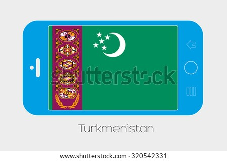 Mobile Phone Illustration with the Flag of Turkmenistan