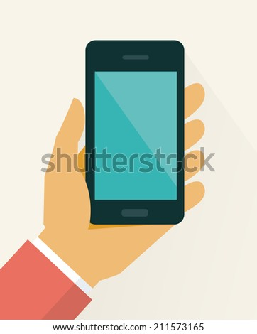 Mobile phone in hand, flat style