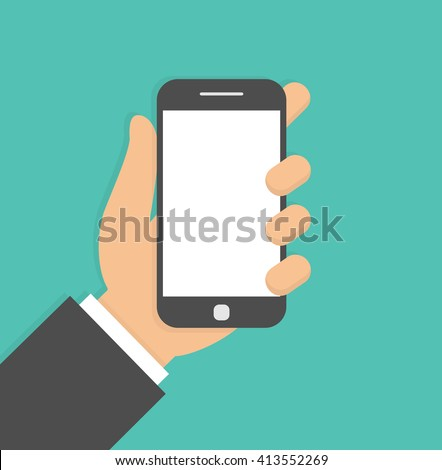 Mobile phone in hand. Hand holding smartphone. Flat design - stock vector