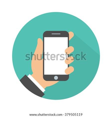 Mobile phone in hand icon. Hand holding smartphone. Flat design - stock vector
