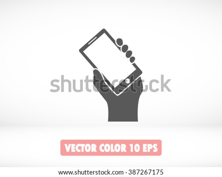 Mobile phone in hand icon, Mobile phone in hand icon eps 10, Mobile phone in hand icon vector, Mobile phone in hand icon illustration, Mobile phone in hand icon jpg, Mobile phone in hand icon picture - stock vector