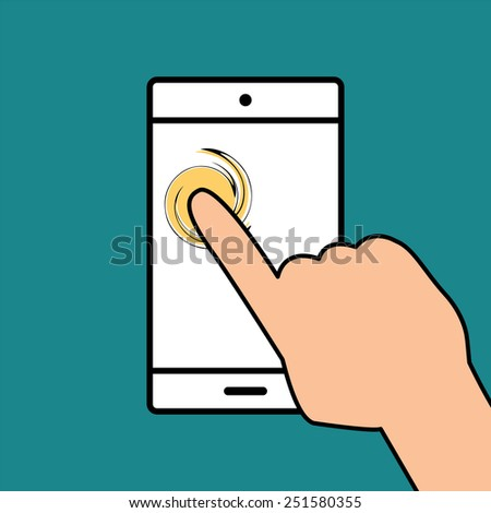Mobile phone in hand icon.vector illustration. - stock vector