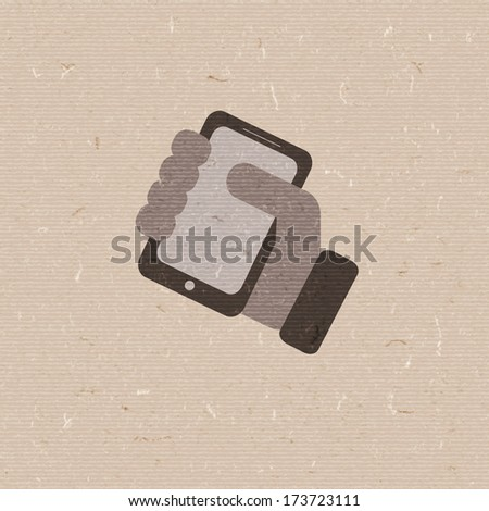 Mobile phone in hand. vector icon. - stock vector