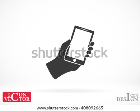 Mobile phone in hand . vector icon - stock vector