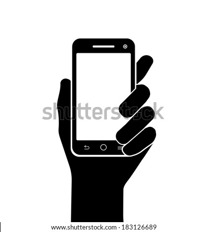 mobile phone in hand vector silhouette on white background - stock vector