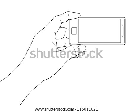 Mobile phone in the hand - stock vector