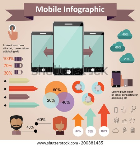 Mobile phone infographic concept design