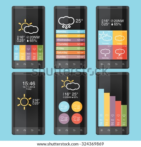 Mobile phone infographics in flat color design - stock vector