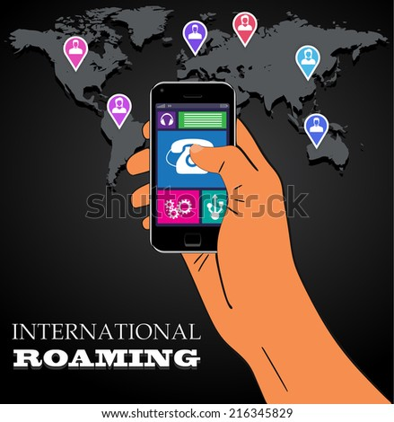 Mobile phone international roaming. Vector illustration. EPS10 - stock vector