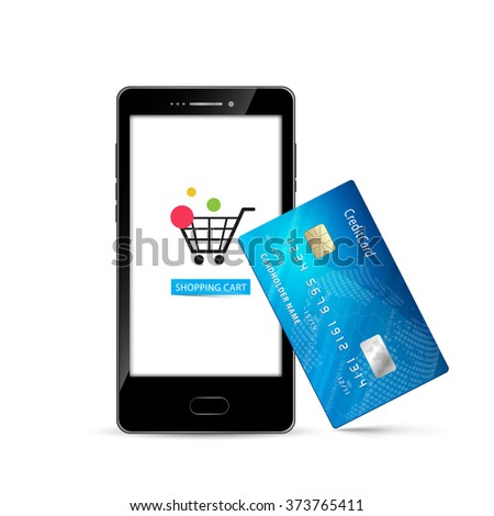 Mobile phone internet shopping credit card vector design