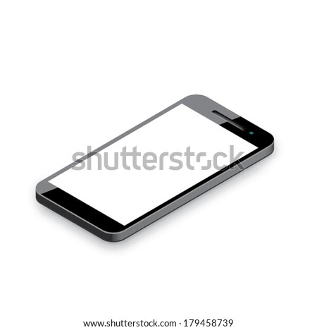 Mobile phone isolated on white. Realistic 3d smartphone vector illustration. - stock vector
