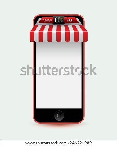 Mobile phone. Mobile store concept with awning. Vector illustration. Can use for promotion banner. - stock vector