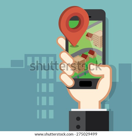 Mobile phone navigation app and gps concept - stock vector