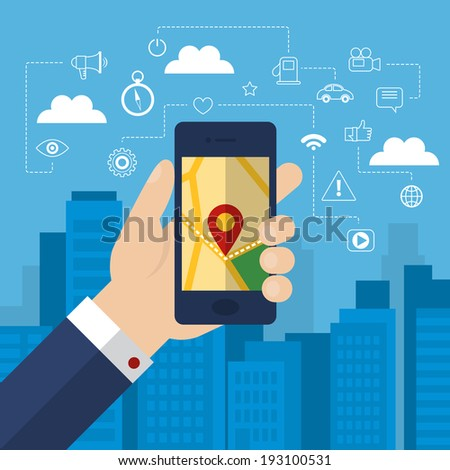 Mobile phone navigation app and gps concept with outline flat icons. Vector illustration - stock vector