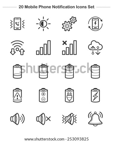 Mobile Phone Notification Icons set, Line icon - Vector illustration - stock vector