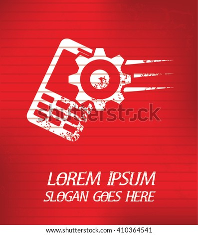 mobile phone on red background,poster grunge design - stock vector