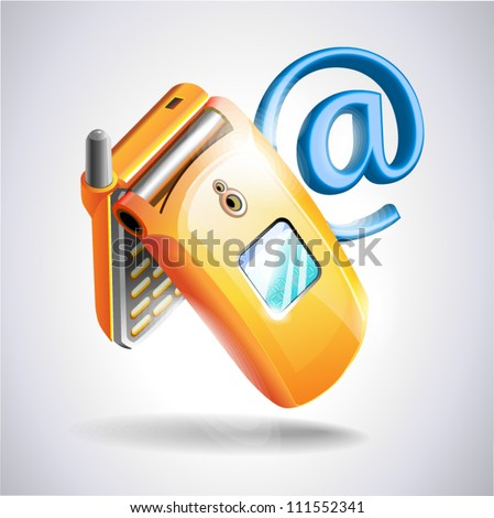 Mobile phone on white background Contacts icon - stock vector