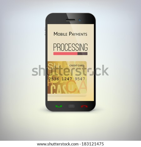 Mobile phone, payment process via a smartphone - stock vector