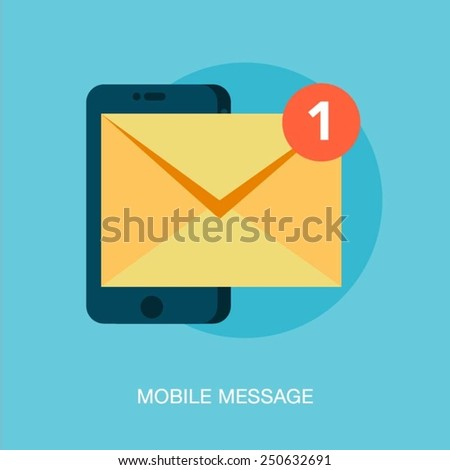 mobile phone receiving a new message, vector illustration - stock vector