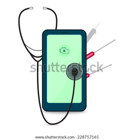 Mobile phone repair vector illustration with stethoscope, soldering iron and screwdriver