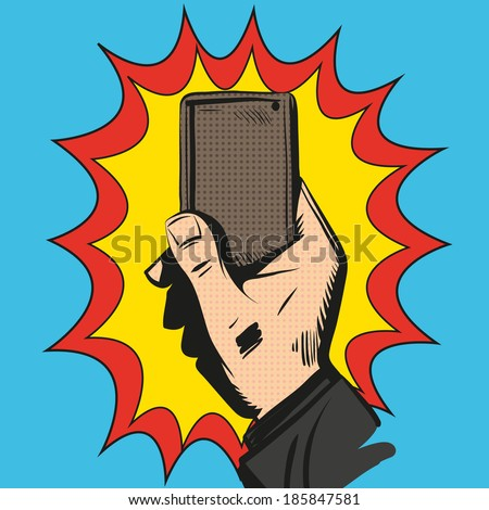 Mobile phone rings in hand. Comic book, vector illustration - stock vector