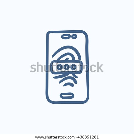 Mobile phone scanning fingerprint vector sketch icon isolated on background. Hand drawn Mobile phone scanning fingerprint icon. Phone scanning fingerprint sketch icon for infographic, website or app. - stock vector