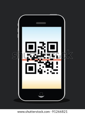 "mobile phone scanning qr code, qr code reads ""love"" - stock vector"