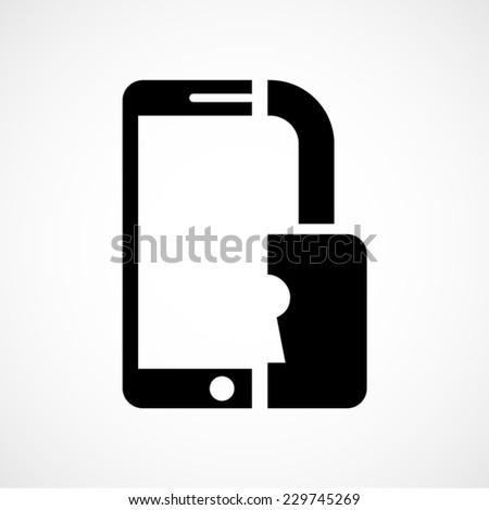mobile phone security concept vector icon - stock vector