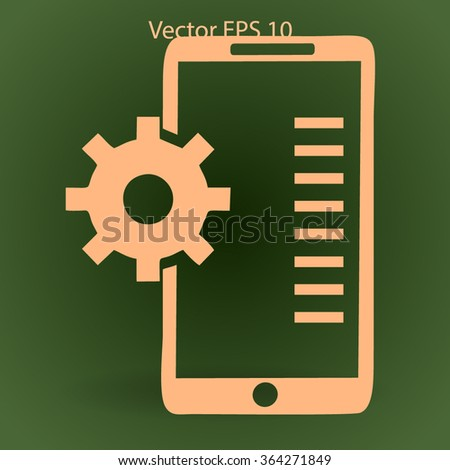 Mobile Phone Settings vector icon - stock vector