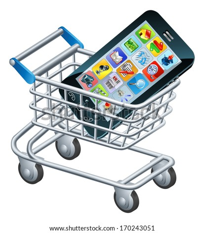 Mobile phone shopping cart, a concept for shopping for apps or a new mobile phone - stock vector