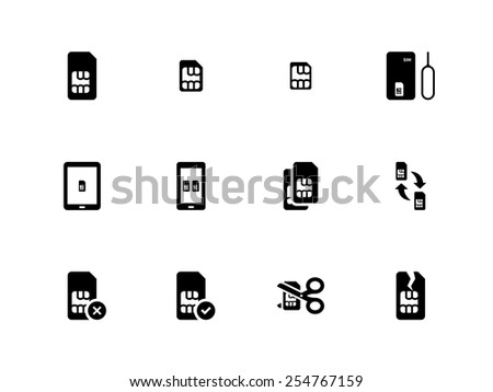 Mobile phone SIM icons on white background. Vector illustration. - stock vector