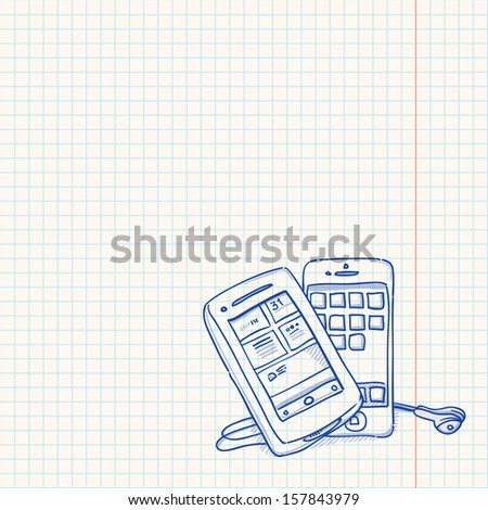 Mobile Phone Sketch - stock vector