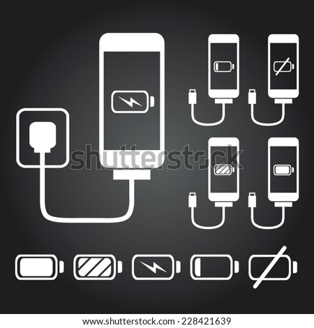 Mobile phone / Smart phone / iPhone charge with battery indicator level in white - stock vector