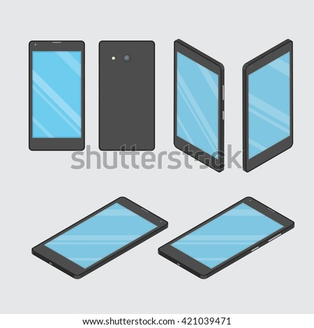 Mobile phone. Smart phone. Set phone at different angles - stock vector