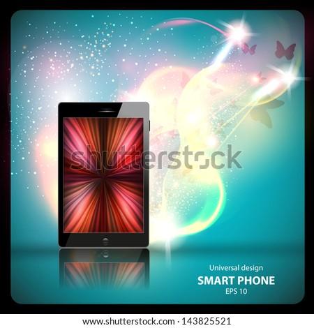 Mobile phone, smartphone original design, vector illustration, easy editable - stock vector