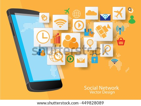 Mobile phone technology and social network graphic design.