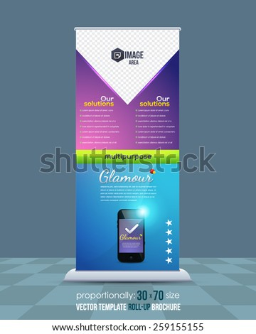 Mobile Phone Theme Roll-Up Banner Design, Ad Vector Template - stock vector