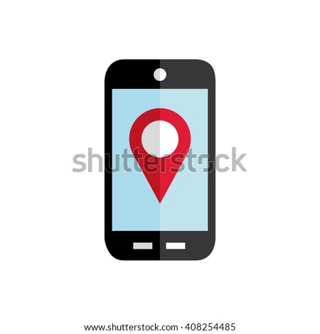 Mobile phone vector flat icon.GPS navigation concept, Smartphone,city application,marker pin pointer.Black,red silhouette.Mobile phone,smartphone Picture,Image,Graphic.Grey background,Illustration - stock vector