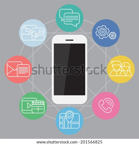 Mobile phone vector illustration with colorful set of device functions in a web composition on background - stock vector