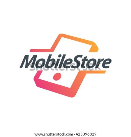 Mobile phone vector logo concept illustration. Smartphone vector logo creative illustration. Mobile technology logo. Mobile phone logo design. Vector logo template. Design element. Mobile Accessories - stock vector