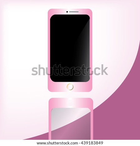 Mobile phone vector with pink color