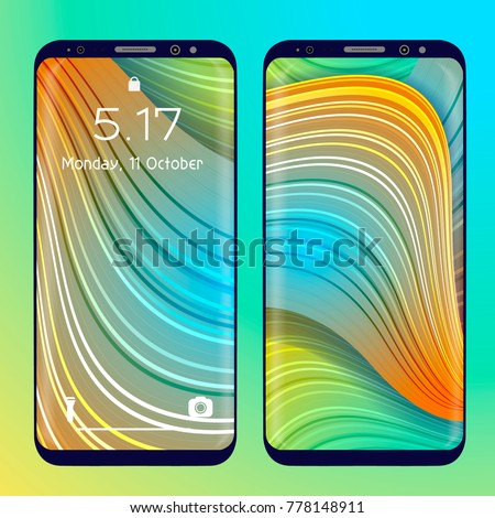 Mobile Phone Wallpaper Design Vector Screen Concept Editable Gradient Mesh Masked Into Shape