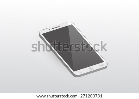 Mobile phone white color vector design. - stock vector