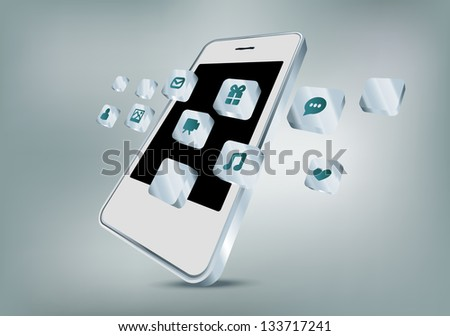 Mobile phone with apps icons - stock vector