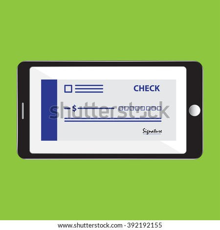 Mobile phone with bank check icon vector illustration - stock vector
