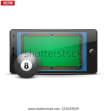Mobile phone with billiard pool ball and field on the screen. Sports theme and applications. Vector illustration Isolated on white background. - stock vector