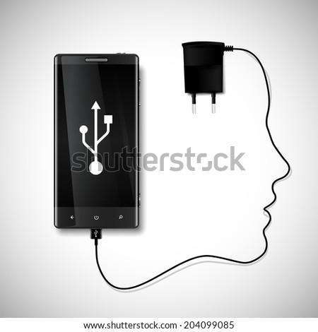 Mobile phone with charger - stock vector